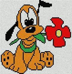 Baby Pluto with Red Flower. Cross Stitch Fairy, Cross Stitch Kits, Cross Stitching, Cross Stitch Embroidery, Pixel Art, Disney Stich, Disney Quilt, Graph Paper Art, Disney Cross Stitch Patterns