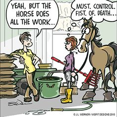 """This is spot-on! lol """"The Horse Owner's Workout"""" Source Funny Horse Memes, Funny Horse Pictures, Funny Horses, Horse Humor, It's Funny, Funny Dogs, Animal Pictures, Funny Memes, Hilarious"""