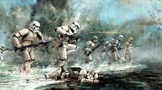 Imperial Stormtroopers Assault a Beachhead Position.