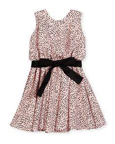 Sleeveless Polka-Dot Swing Dress, Pink/Black, Size 7-14 - Helena