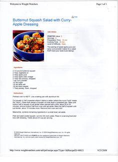 WW Butternut Squash Salad w-Curry-Apple Dressing
