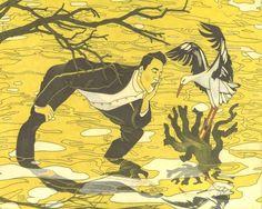'the stork and his man' by david hile Stork, Fine Art, David, Fictional Characters, Fantasy Characters, Visual Arts