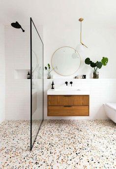 Terrazzo Flooring, Bathroom Flooring, Bathroom Furniture, Granite Flooring, Modern Furniture, Futuristic Furniture, Plywood Furniture, Furniture Design, Bad Inspiration