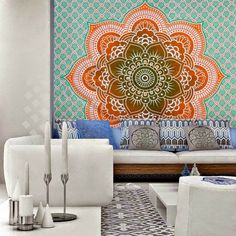 Ombre Hippie Mandala Bohemian Indian Bedspread Magical Thinking Tapestry $42