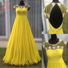 Post by Khan's Creation ( on gowns, yellow Indian Fashion Dresses, Indian Gowns Dresses, Dress Indian Style, Indian Designer Outfits, Party Wear Long Gowns, Designer Party Wear Dresses, Designer Gowns, Party Dresses, Long Gown Dress