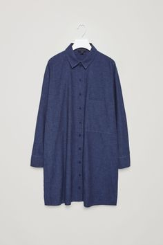 COS image 2 of Cotton-denim shirt dress in Navy Denim Button Up, Button Up Shirts, Denim Shirt Dress, Fall Dresses, Denim Dresses, Knit Dress, Everyday Fashion, Tunic Tops, Fashion Outfits