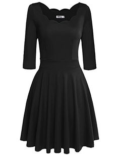 Awesome Meaneor Women's Low Cut Swing Fit and Flare Cocktail Dress