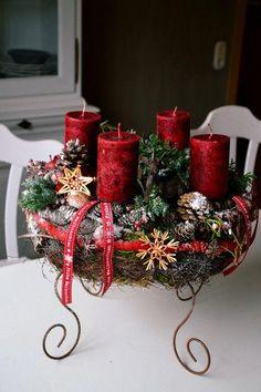 adventskranz klassisch rot by perla s polarstation. Black Bedroom Furniture Sets. Home Design Ideas