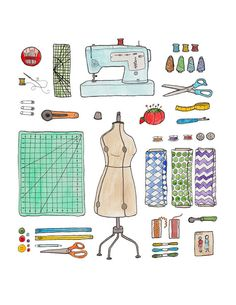 Sewing Gear Print by JodiLynnDoodles on Etsy