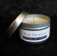 """Estrella Rose Geranium Natural Soy Candle. Soy wax and essential oils. Approximately 2 3/4"""" D."""