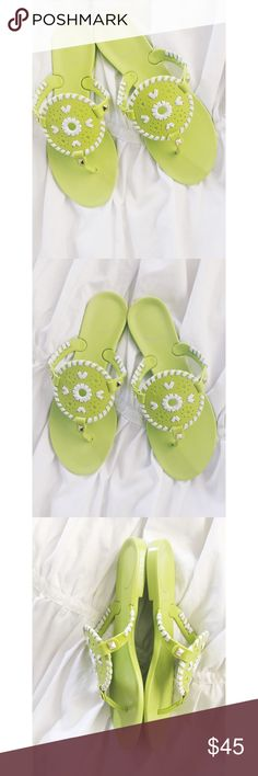 Jack Rogers Sandals Jack Rogers Sandals.  100% genuine Jack roger brand.  The logo was on the heel but wore off after a few times wear.  Only worn a hand full of times this summer.  Women's size 7.  Fits true to size.  No box.  Great condition! Lime green with white trim and gold studs. Jack Rogers Shoes Sandals