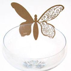 Laser Cut Glass Percher Butterfly Place Cards