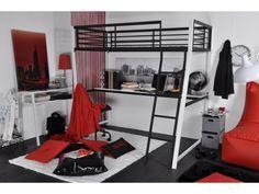 Lit mezzanine MALICIO - couchage 90x190cm - bureau intégré - coloris noir et blanc 200