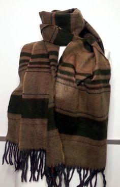Cashmere Men's Scarf - Green and Mustard Color Scarf - Wool Men's Scarf - B10206 #handmadeatamazon #nazodesign