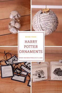 Book Page Harry Potter Ornaments – Housewife Eclectic - Best Christmas Content Harry Potter Christmas Decorations, Harry Potter Christmas Tree, Hogwarts Christmas, Harry Potter Decor, Harry Potter Books, Homemade Ornaments, Diy Christmas Ornaments, Christmas Ideas, Dough Ornaments