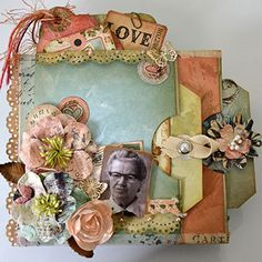 Mini Envelope Album using Prima and Kaisercraft Flowers and K & Co. Papers-
