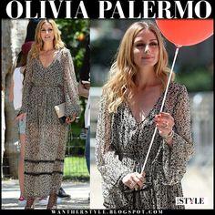 Olivia Palermo in black floral print maxi dress