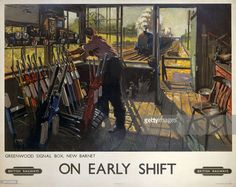Poster produced for British Railways (BR), showing a railway worker manually operating the signals in the Greenwood signal box, New Barnet, London. A steam locomotive can be seen approaching in the distance. Artwork by Terence Cuneo, son of the artists Cyrus and Nell Cuneo. He studied at the Chelsea and Slade Art Schools and in addition to a long career designing railway posters, he also painted portraits (including royal portraits) and ceremonial and military subjects.