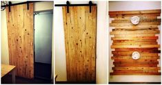 We would like here to peak into the DIY pallet projects only and have brought these pallet ideas, all from genius people around the globe and would Diy Pallet Wall, Pallet Walls, Diy Pallet Projects, Pallet Ideas, Reclaimed Wood Furniture, Recycled Pallets, Project Yourself, Sliding Doors, Home Remodeling
