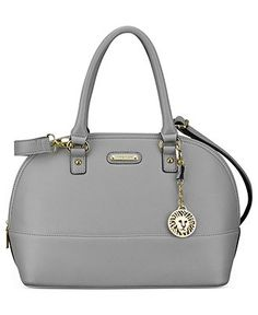 """Anne Klein Jazzy Geos Dome Satchel - Dove Grey - BonTon.com - Original Price 89 Dollars - Sale Price 54 - I've become hooked on Anne Klein Shoes, Handbags and Jewelry.  Great styles, colors and the Lion Head Emblem is perfect for me since my zodiac sign is """"Leo"""""""