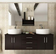 Double basin vanity. Two mirrors and the shelf. Or a window in between?