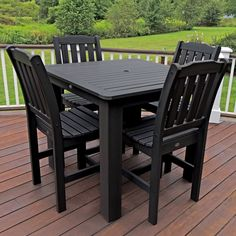 highwood® Lehigh Recycled Plastic 5 pc. Square Patio Dining Set - AD-DNL44-BKE