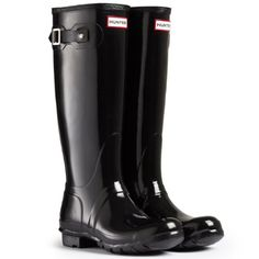 Womens Hunter Boots Original Tall Gloss Snow Rain Boots Water Boots Unisex  Black  7 ** To view further for this item, visit the image link.