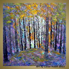 sale Original Modern Landscape Palette Knife Trees by LUIZAVIZOLI, $159.00