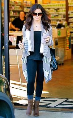 Jenna Dewan-Tatum keeps warm in Splendid's Vancouver Stripe Wrap cardigan, while out in West Hollywood. http://www.eonline.com/photos/6415/celebrity-street-style/243756
