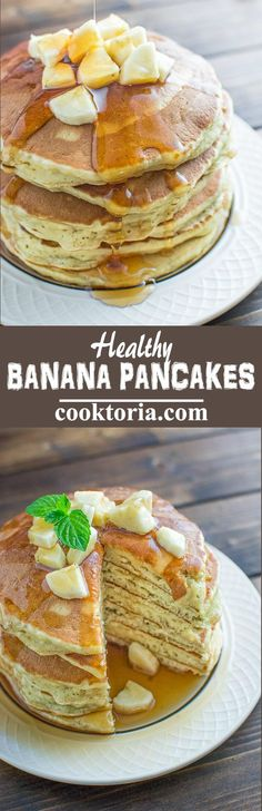 These Healthy Banana Pancakes are so easy to make and so fluffy and tasty. And there's no added sugar! At 140 calories per pancake, these are a must try. ❤️ COOKTORIA.COM