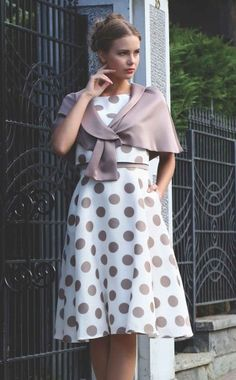 1dec40222032d7 Lizabella style 2427, Beige & Ivory Polka-Dot Tea length Dress with  matching wrap