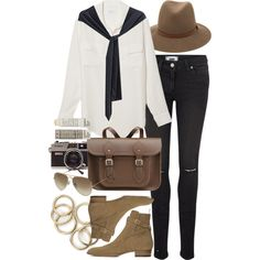 Untitled #6142 by nikka-phillips on Polyvore featuring Equipment, Paige Denim, The Cambridge Satchel Company, rag & bone, Ray-Ban, Yves Saint Laurent and Korres