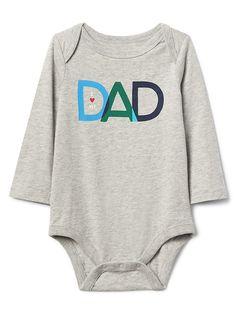 Gap Baby Family Love Long Sleeve Bodysuit Grey Heather