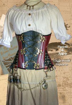 26 waist  Steampunk Oxblood  Explorer Corset by Harlotsandangels, $195.00