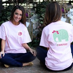 This Monogrammed Seersucker Elephant T-Shirt = Cutest Shirt Ever!!! Available on MARLEYLILLY.com #elephantlove #seersucker #preppy