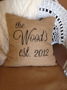 Burlap pillow family name and wedding year by burlapheartstrings, $27.00