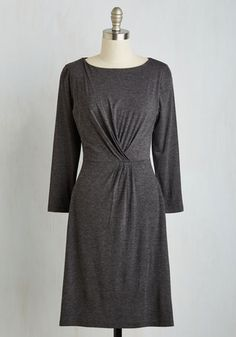Be Still My Pleating Heart Dress - Grey, Solid, Casual, A-line, Long Sleeve, Fall, Knit, Good, Mid-length