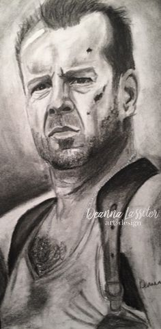 Bruce Willis Die Hard charcoal portrait. Realistic charcoal drawing