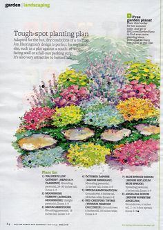 Tough spot planting plan from May 2013 issue of BHG Perennial Garden Plans, Flower Garden Plans, Full Sun Garden, Full Sun Perennials, Planting Plan, Layout, Front Yard Landscaping, Landscaping Ideas, Shade Garden