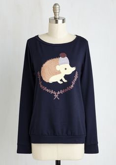 Quilling Me Softly Top. The cute critter on this navy blue top gets us every time! #blue #modcloth