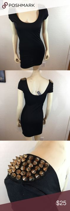 "Little Black Dress w/Pointed Grommet Shoulders Perfect NWT LBD w/pointed grommets on the shoulders. Sz: M. Length from shoulder to hem: 33"". No trades(d) Wet Seal Dresses Mini"