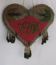 1914 Dated Vintage Native Beadwork Whimsy Heart, Minimal Bead Loss, Iroquois