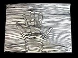 "OiLS--We drew the outline of a hand, very lightly in pencil, and then began drawing lines freehand across the paper. When part of the hand was in the way of the straight line, each artist had to ""crawl over"" their finger or hand with curves and arcs. The optical illusion became very obvious if the lines were close together and the curves fairly strong."