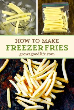 How to Make Freezer Fries Blanching and freezing French fries cuts down the cooking time allowing you to bake or air fry fries in half the time as making from scratch. Learn which potatoes are best for freezing and how to prepare freezer fries. Homemade Fries, Homemade French Fries, Freezer Cooking, Cooking Time, Frozen Potatoes, Freezing Potatoes, Making French Fries, Freezable Meals, Frozen Vegetables