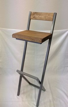 36 X style bar stool with back. by BarstoolsByAlex on Etsy Blue Dining Room Chairs, Wayfair Living Room Chairs, Farmhouse Dining Chairs, Bar Chairs, Welded Furniture, Steel Furniture, Woodworking Furniture, Diy Bar Stools, Bar Stools With Backs