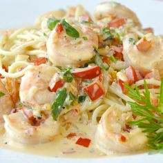 Spicy Creamy Garlic Shrimp - Make this creamy garlic shrimp recipe as spicy or mild as you like; makes an ideal quick & easy workday meal but impresses enough for a fancy dinner party.
