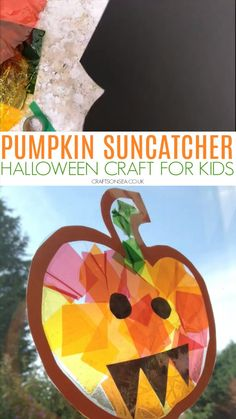 fall crafts for kids preschool This stained glass pumpkin suncatcher is a cute Halloween craft for kids that can also help to teach them about colour mixing and practice sc Halloween Art Projects, Halloween Arts And Crafts, Fall Art Projects, Halloween Crafts For Toddlers, Halloween Crafts For Kids, Fall Crafts For Preschoolers, Fall Art For Toddlers, Fall Toddler Crafts, Fall Activities For Kids