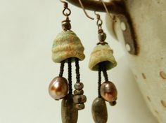 Boho Rustic Artisan earrings made with my hand by AtHomeInTaos