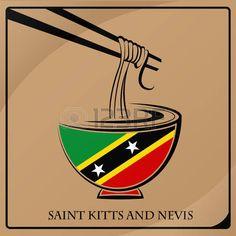 Logotipo de espaguetis. Bandera de Saint Kitts y Nevis.