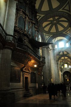 Inside Mexico City's Cathedral. Here is one side of the organ. There is a room inside it. The mutilingual tour guiders would give you the inside-outs about how someone tried to burn it, & how it was salvaged. There are seats with face carvings and a story behind them! By the time you finish the tour, you will feel at one with the minds of those who believed in God - the concept of good and evil is imbued in this site! By Gilda Olsen